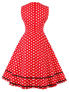 White 1950s Polka Dot Swing Dress