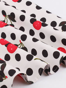 White 1950s Polka Dot Cherry Print Swing Dress