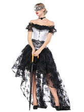 Load image into Gallery viewer, Gothic Costume Halloween Women Black Lace Short Sleeve Top Corset And Asymmetrical Skirt