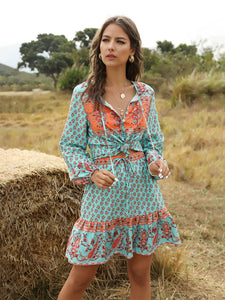 Women's 2 Pieces Boho Dress Floral Printed V Nect Long Sleeve Midi Length