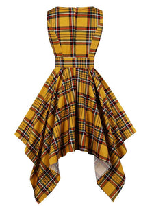 Retro Dress 1950s Vintage Plaid Crew Neck Irregular Vintage Dress