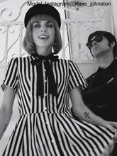 Load image into Gallery viewer, Beetlejuice Costume Pocket Dress Black and White Vertical Stripe Dress With Earrings