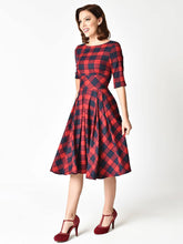 Load image into Gallery viewer, Elegent Low Back Crewneck Sleeveless Plaid Vintage Dress