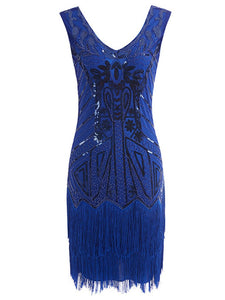5Color 1920S Sequined Fringe Gatsby Flapper Dress