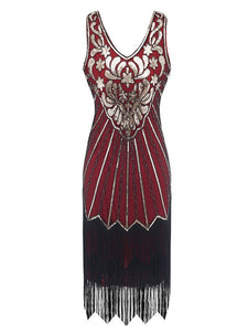 7 Color 1920S Sequined Fringe Flapper Dress
