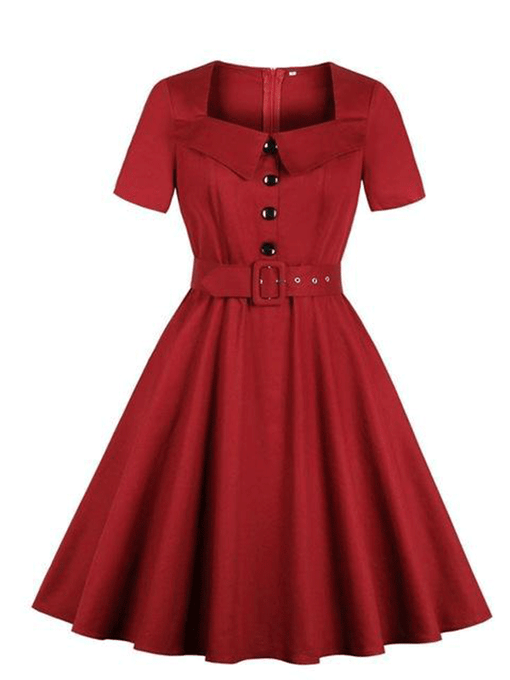 Side Pockets 50s 60s  Square Collar Dress