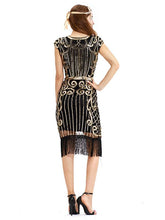 Load image into Gallery viewer, Dark Green 1920s Crew Neck Sequined Fringed Flapper Dress