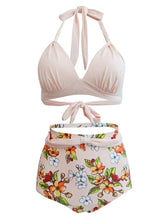 Load image into Gallery viewer, Sexy Classical Vintage Style Solid Background With Floral Two Pieces Bikini Sets