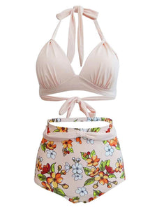 Sexy Classical Vintage Style Solid Background With Floral Two Pieces Bikini Sets