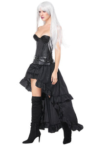 Halloween Costume Steampunk Black Women Vintage Ruffles High Low Corset And Skirt Set