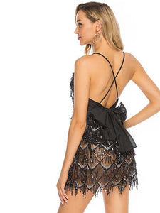 Black Lace Deep V Sequin Back Cross Bow Mini Dress