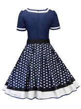 Load image into Gallery viewer, Sweet Heart Neck Polka Dots A Line Vintage Dress With Belt