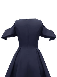 Navy 1950s Open Shoulder Ruffles Vintage Dress