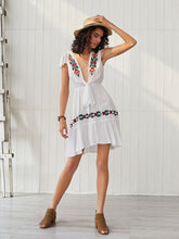 Load image into Gallery viewer, Women's Boho Dress Deep V Neck Embroidered Short Sleeve Midi Length Dress