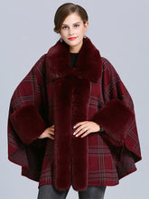 Load image into Gallery viewer, Plaid Women Poncho Sweater Faux Fur Coat Shawl Collar