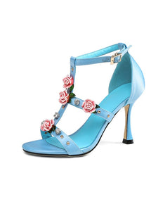 Luxury Rose Flower T Strap Vinatge Sandals