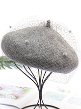 Load image into Gallery viewer, Solid Color Wool Felt Beret Cap Hat With Veil