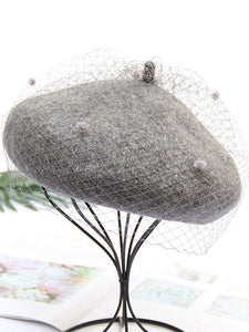 Solid Color Wool Felt Beret Cap Hat With Veil