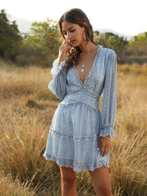 Load image into Gallery viewer, Deep V Ruffles Backless Long Sleeve Summer Boho Dress