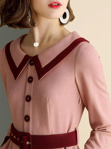 Peter Pan Collar Swing Dress With Pocket