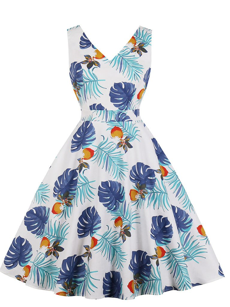 V Neck Palm Tree Print 1950s Vintage Dress