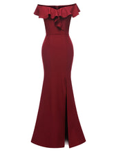 Load image into Gallery viewer, Off the Shoulder Solid Color Ruffles A line Split Vintage Bodycon Maxi Dress