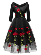Load image into Gallery viewer, Solid Color Rose Embroidered Sweetheart A line Vintage Dress