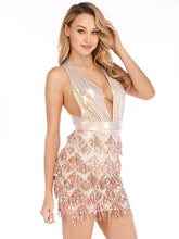 Load image into Gallery viewer, Sequin Halter Backless Back Cross Party Prom Dress