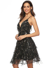Load image into Gallery viewer, Sequin Spaghetti Strap Backless Party Prom Dress