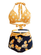 Load image into Gallery viewer, Sexy Classical Vintage Style Dots And Floral Two Pieces Bikini Sets