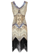Load image into Gallery viewer, 3 Colors 1920s  Sequined Fringed Flapper Dress