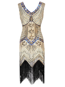 3 Colors 1920s  Sequined Fringed Flapper Dress