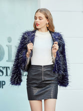 Load image into Gallery viewer, Peacock Long Sleeve Faux Fur Jacket For Women