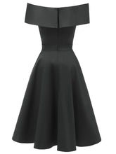 Load image into Gallery viewer, Navy 1950s Off Shoulder Swing Dress