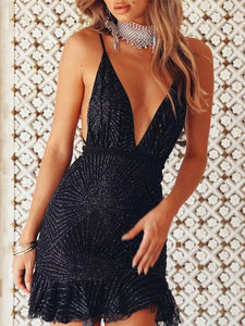 Spaghetti Strap Sequined Vintage Party Dress