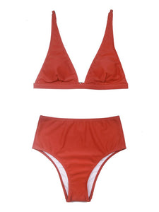 Red High Waisted Two Pieces Striated Triangle Bikini Sets