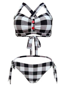 High Waisted Sexy Retro Style Backless Plaid Two Pieces Bikini Sets
