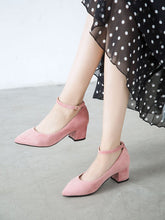 Load image into Gallery viewer, Stiletto Heel Pointed Toe Suede Vintage Shoes