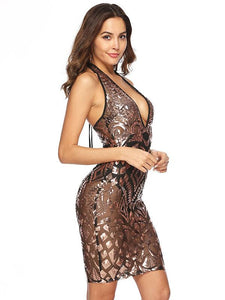 Sequin Halter Backless Party Prom Dress