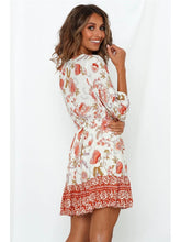 Load image into Gallery viewer, Women's Boho Dress Floral Printed V Neck Beach Dress Half Sleeve