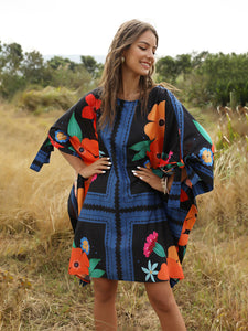 Boho Dress Robe Style Floral Printed Beach Dress For Women