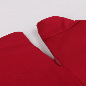 Red Bow Collor Swing Vintage 1950S Dress