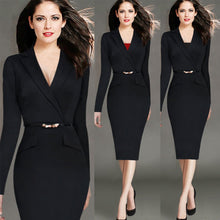 Load image into Gallery viewer, Elegant With Pockets V Neck Autumn 40s Dress