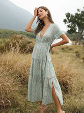 Load image into Gallery viewer, Women's Boho Dress Floral Printed Ruffle Deep V Neck  Maxi Dress