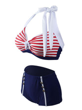 Load image into Gallery viewer, Stripe Halter Retro Style Bikinis swimsuits