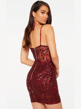 Load image into Gallery viewer,   Spaghetti Strap Sequined Bodycon Vintage Party Dress