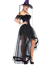 Load image into Gallery viewer, Halloween Costume Gothic Black Vintage Corset Top High Low Skirt For Women