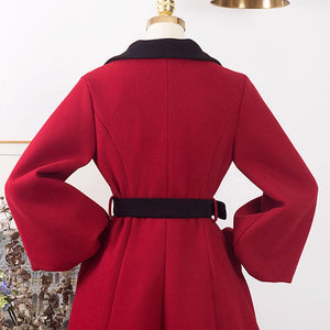 Christmas Women's Winter Coat Long Sleeve Turndown Collar