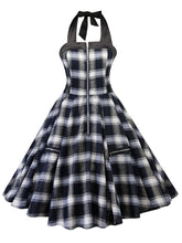 Load image into Gallery viewer, Halter Plaid Zipper Front  A Line Vintage Dress