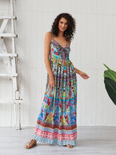 Load image into Gallery viewer, Women's Boho Dress Spaghetti Strap Bow Split Floral Printed Maxi Dress